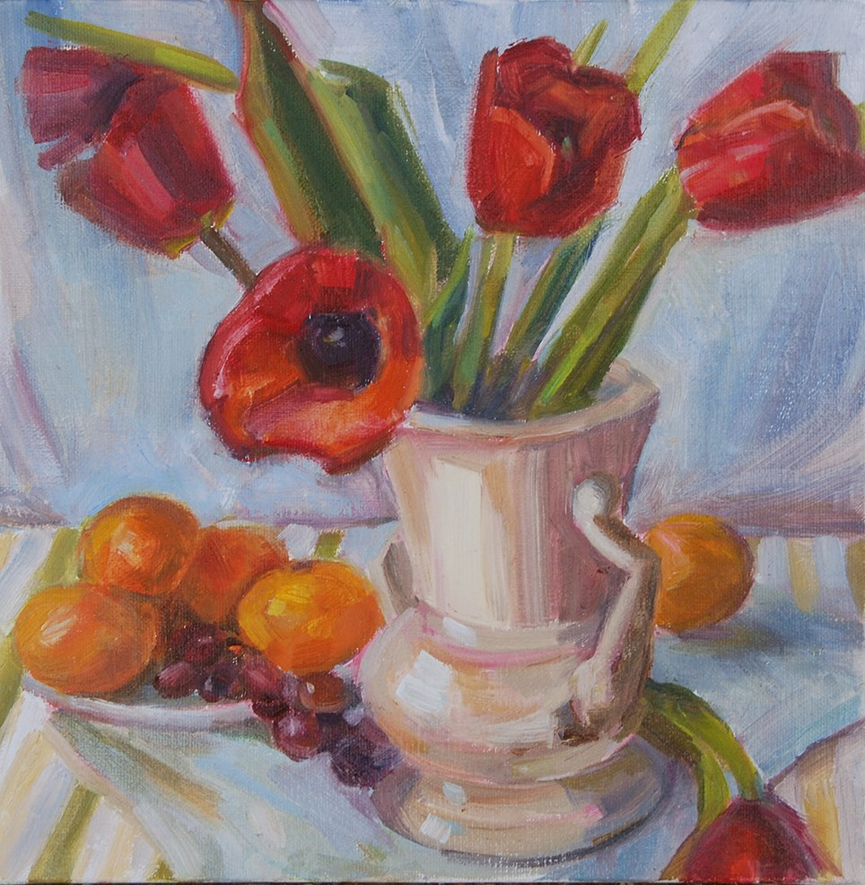 """Still Life with Tulips, Original oil by Carol DeMumbrum"" original fine art by Carol DeMumbrum"