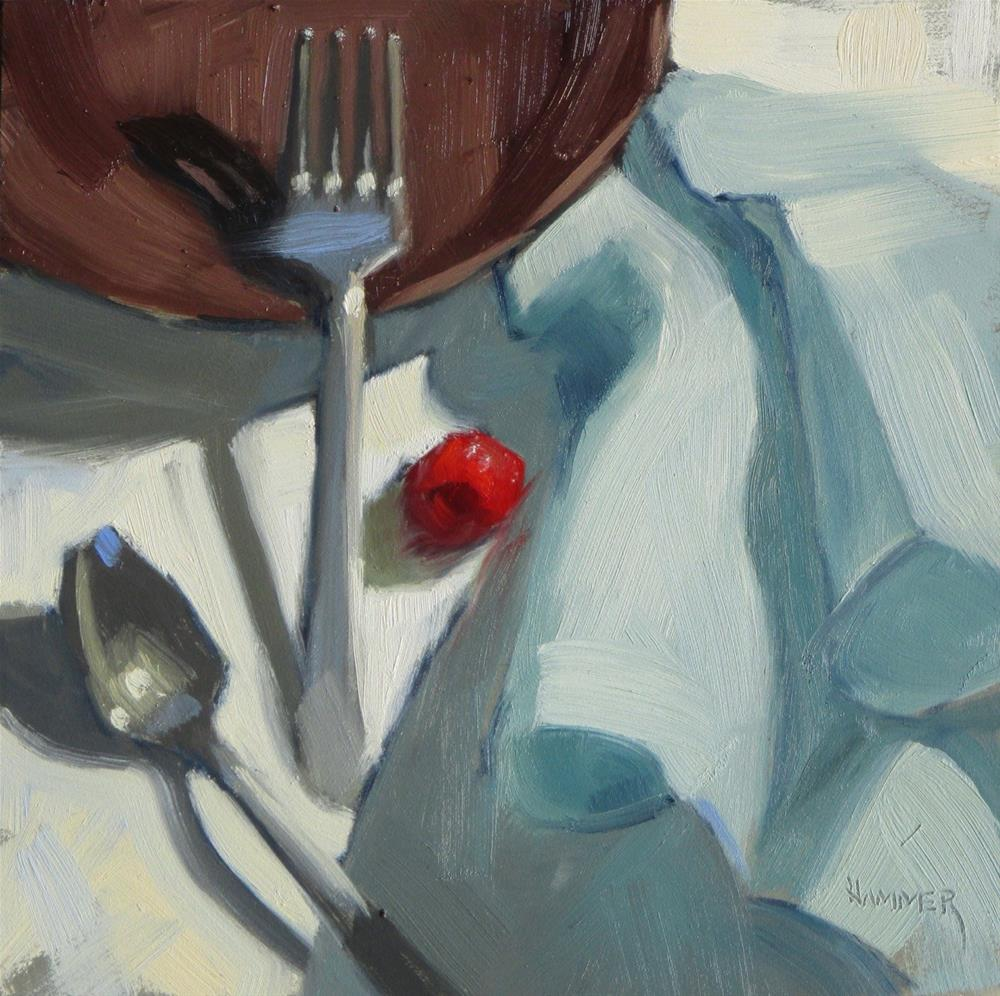 """A Raspberry and a Napkin  6 x 6  oil"" original fine art by Claudia Hammer"