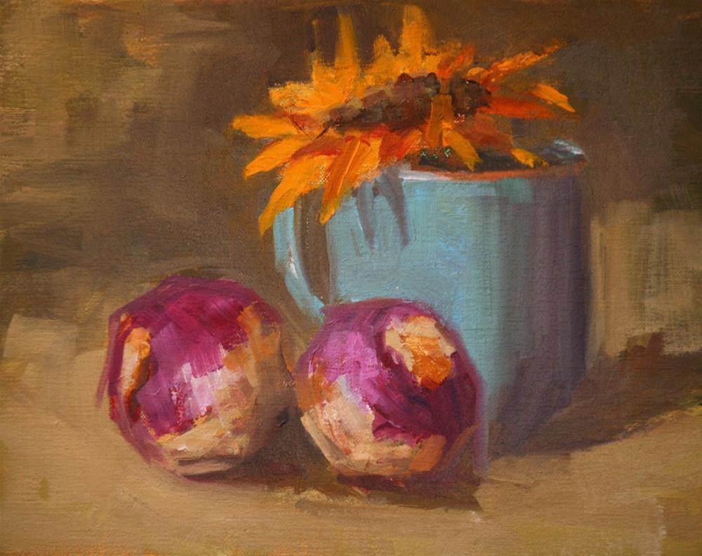 """turnips and sunflower"" original fine art by Carol Carmichael"