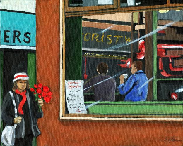 """Old City Diner - figurative oil painting"" original fine art by Linda Apple"