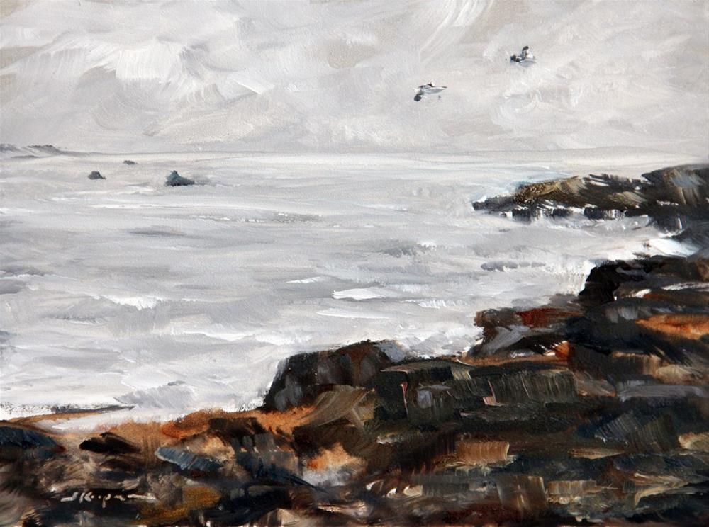 """Rocks, Clouds, and Sea"" original fine art by Shelley Koopmann"