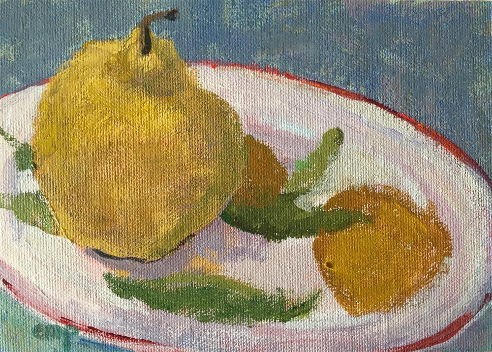 """Still life with Pear"" original fine art by Christine Parker"