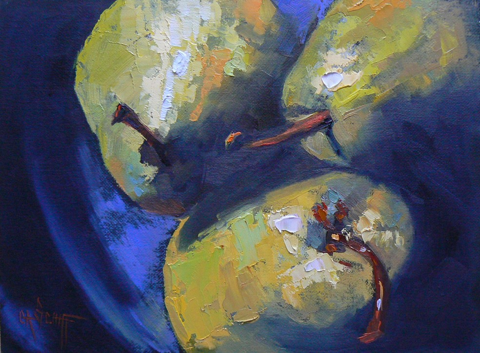 """TRIO DE POIRES SUR LA PLAQUE, 6X8, Oil, Canvas Board"" original fine art by Carol Schiff"