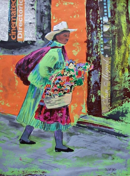 """Green dress Mexican woman"" original fine art by Cristiana  Marinescu"