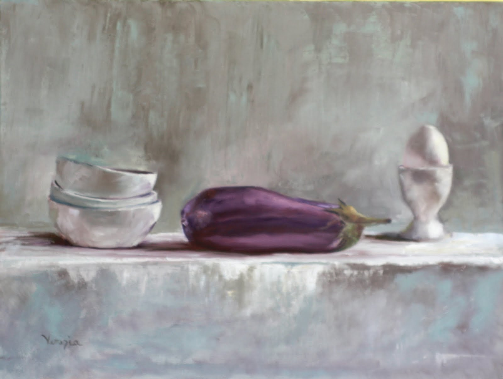 """still life painting with eggplant and egg"" original fine art by Carrie Venezia"