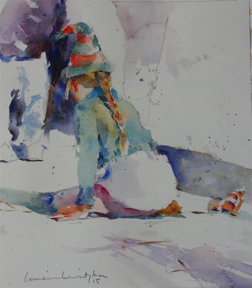 """Hopscotch Christmas"" original fine art by Lorraine Lewitzka"