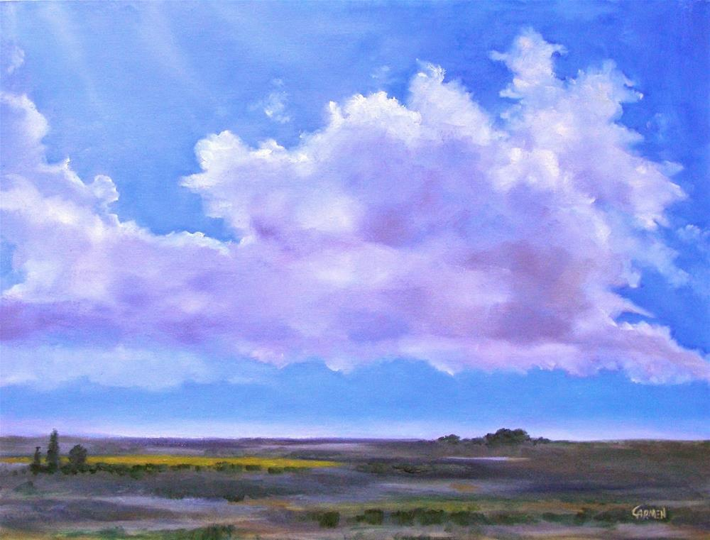 """Clouds in Landscape, 24x18 Oil Painting"" original fine art by Carmen Beecher"