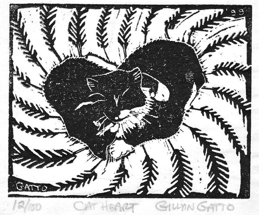 """CAT HEART"" original fine art by Gillyin Gatto"