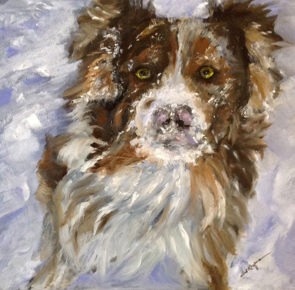 """Hudson with a Face Full of Snow"" original fine art by Shelley Koopmann"