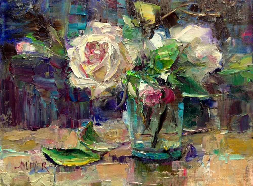 """Roses in a Water Glass."" original fine art by Julie Ford Oliver"
