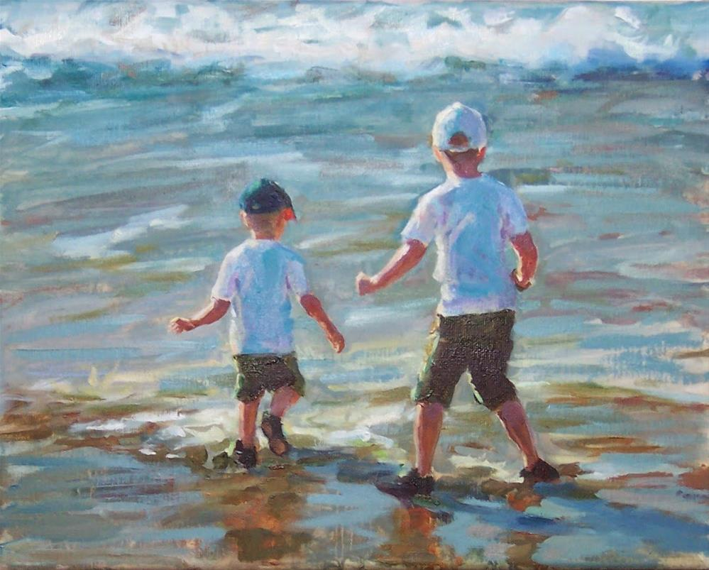 """Boys in the North Surf,figure,oil on canvas,11x14,priceNFS"" original fine art by Joy Olney"
