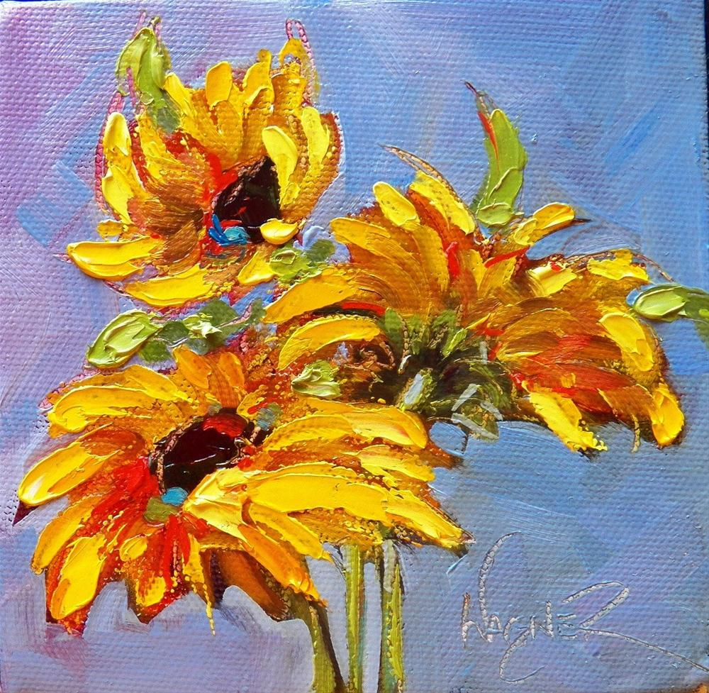 """SUNFLOWERS #6 and #7"" original fine art by Olga Wagner"
