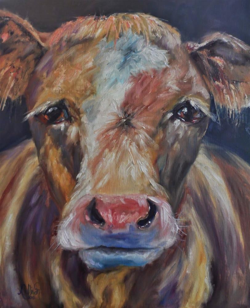 """""""The Quiet One cow painting by Alabama Artist Angela Sullivan"""" original fine art by Angela Sullivan"""