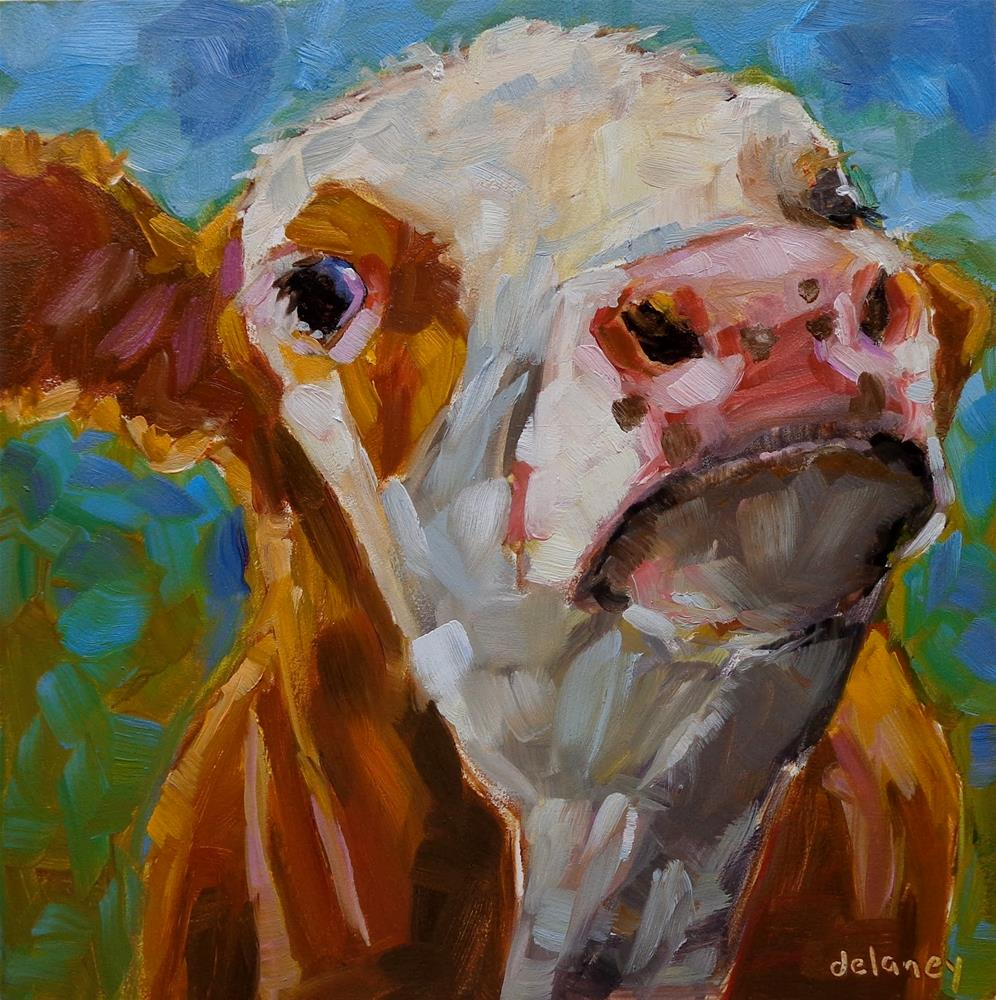 """Cow 137 HERE'S LOOKING AT YOU"" original fine art by Jean Delaney"