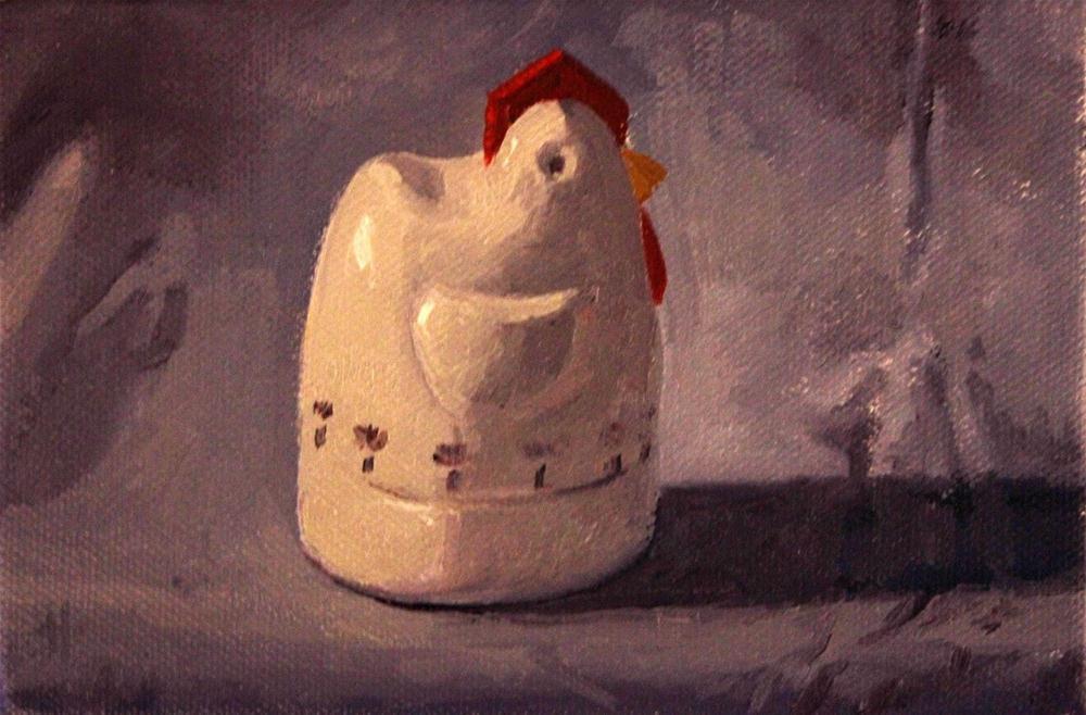 """""""Chicken or the Egg...Timer"""" original fine art by Ski Holm"""