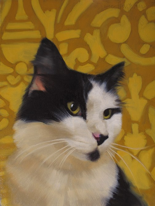 """Dapper Dan black & white cat from Cleveland APL"" original fine art by Diane Hoeptner"