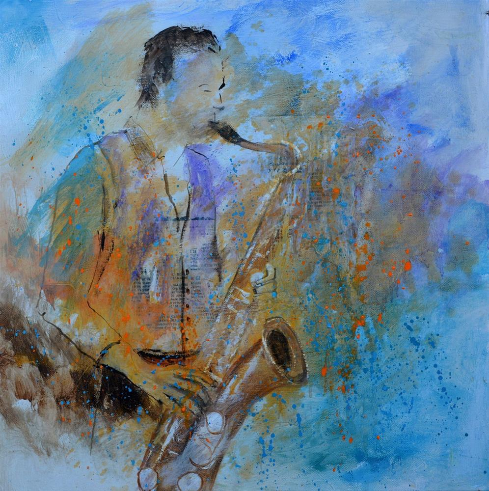 """Saxplayer"" original fine art by Pol Ledent"