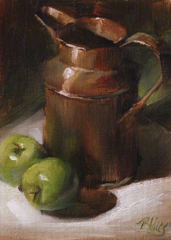 """Granny Smiths and a Copper Pitcher"" original fine art by Pamela Blaies"
