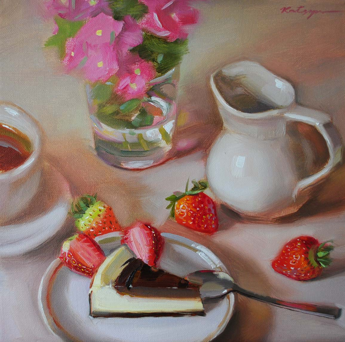 """Chocolate Cheesecake"" original fine art by Elena Katsyura"