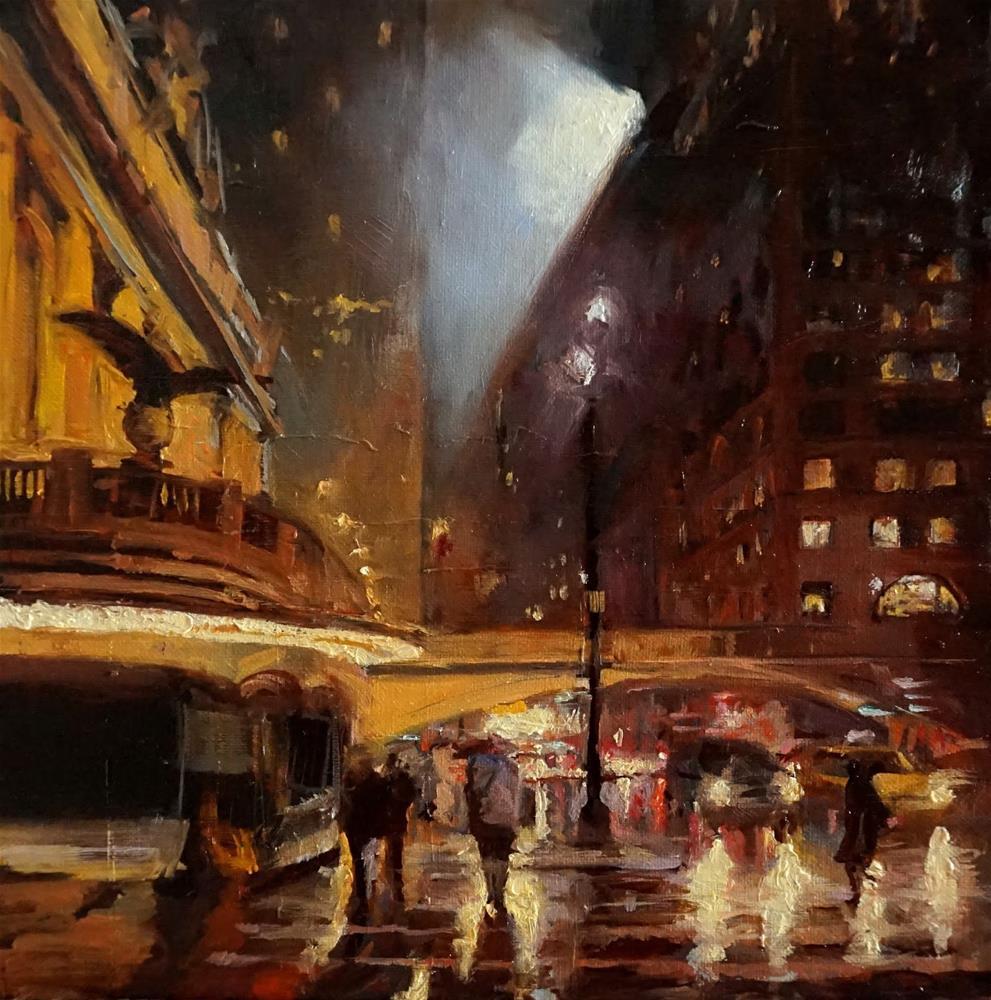 """Rainy Night in Manhattan II"" original fine art by Jonelle Summerfield"
