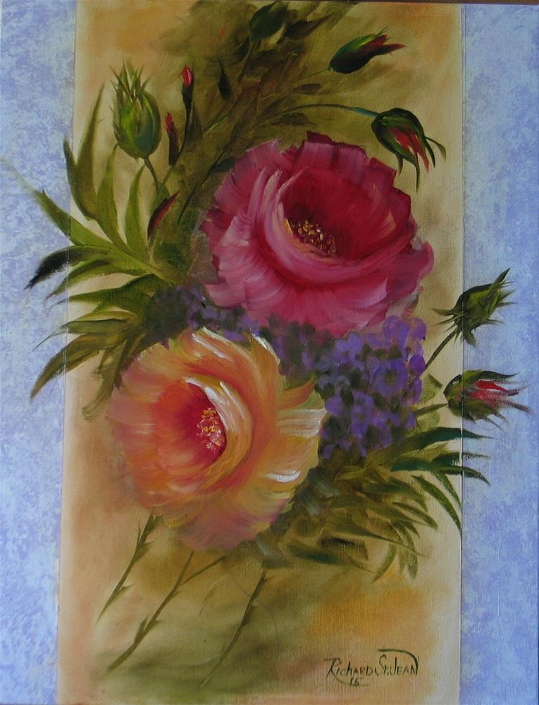 """Roses with Lacy Border"" original fine art by Richard St.Jean"