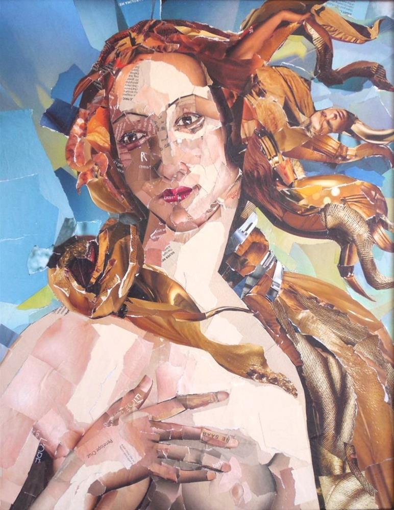 """Simonetta, 16x20 Collage on Canvas, Botticelli's Venus"" original fine art by Carmen Beecher"