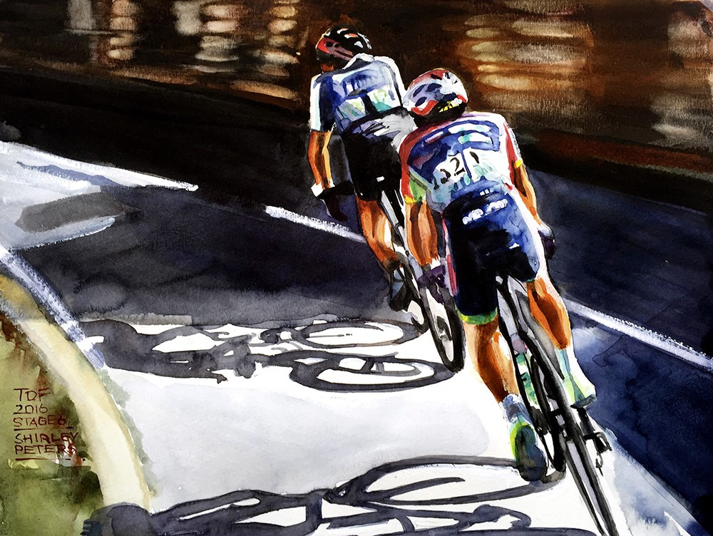 """Ten more paintings from 2016 Le Tour de France"" original fine art by Shirley Peters"