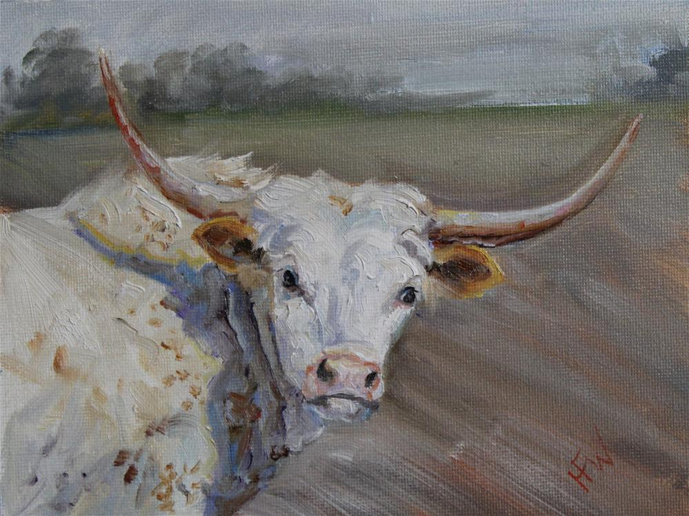 """Longhorn Heifer"" original fine art by H.F. Wallen"