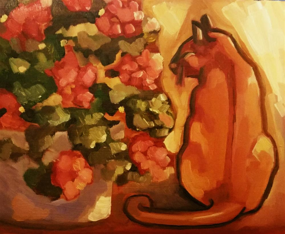 """Cat and Geraniums"" original fine art by Leni Tarleton"