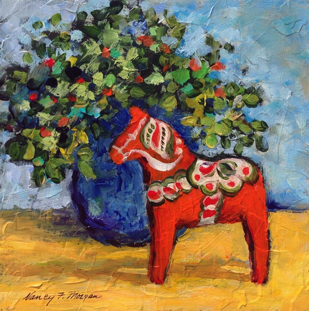 """Little Red Horse"" original fine art by Nancy F. Morgan"