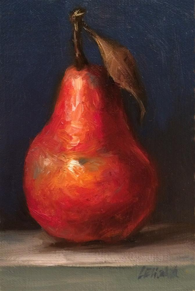 """Red Pear with Blue Background, 5x 7 Oil on linen Panel"" original fine art by Carolina Elizabeth"