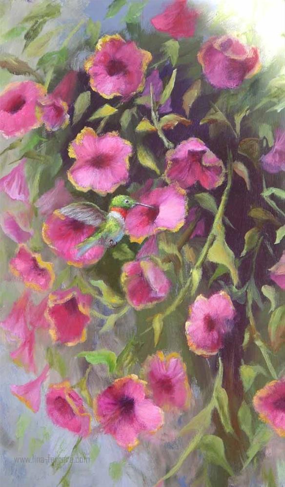 """Humminbird and Petunias"" original fine art by Lina Ferrara"