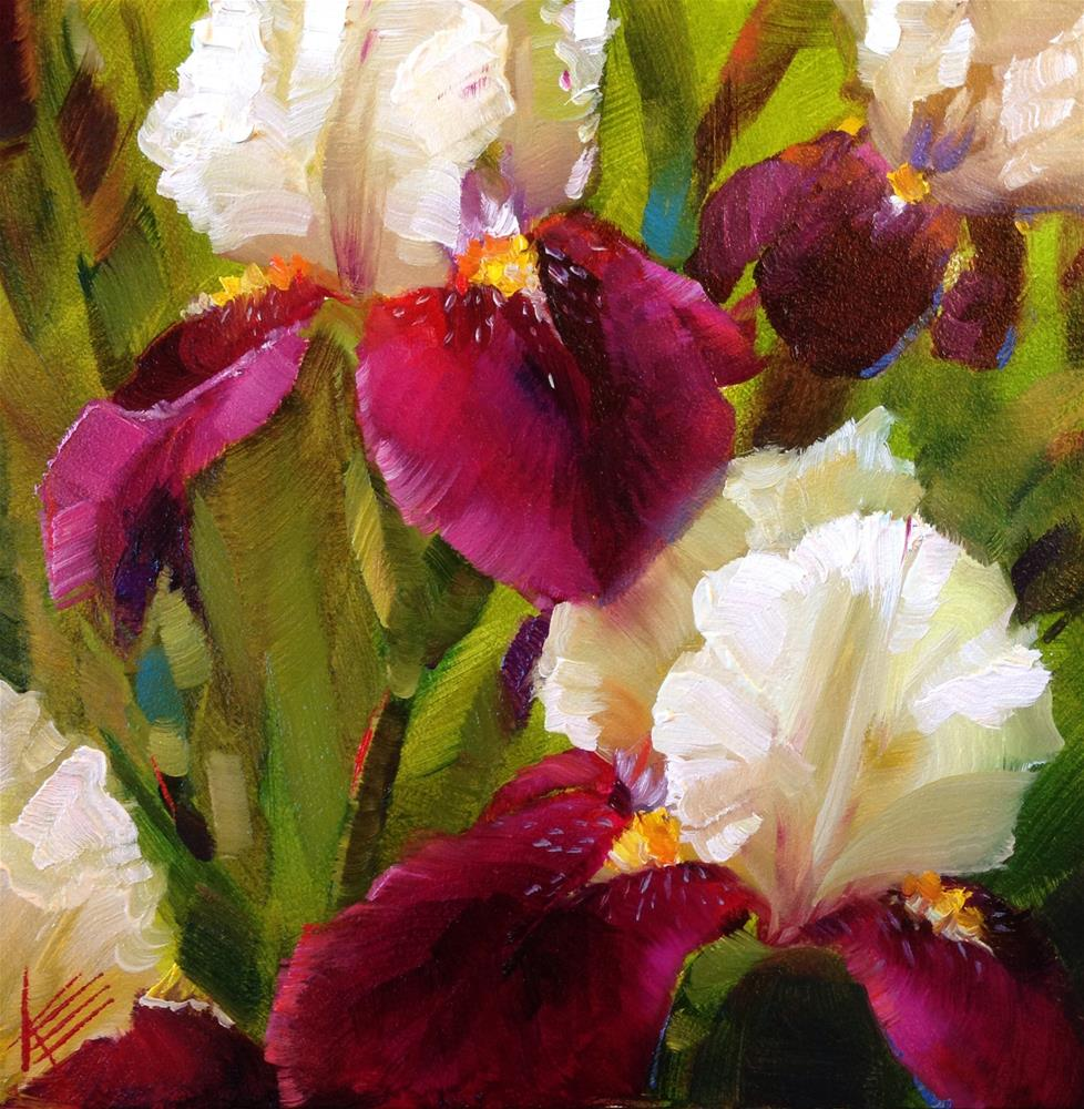 """Purple and white irises"" original fine art by Krista Eaton"