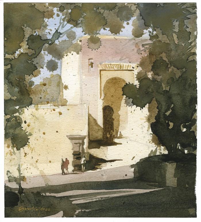 """""""Puerta de la justicia"""" original fine art by Emilio López"""