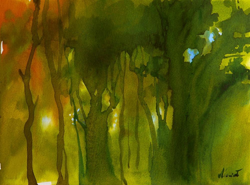 """forest_aqua"" original fine art by Beata Musial-Tomaszewska"