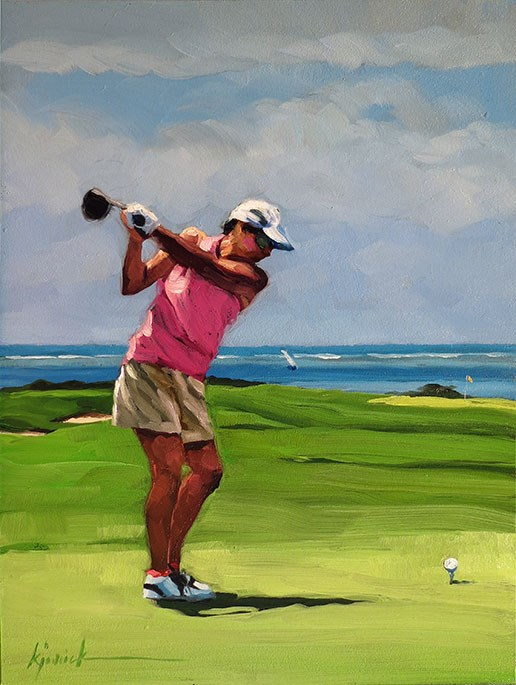 """Tee Off"" original fine art by Karin Jurick"