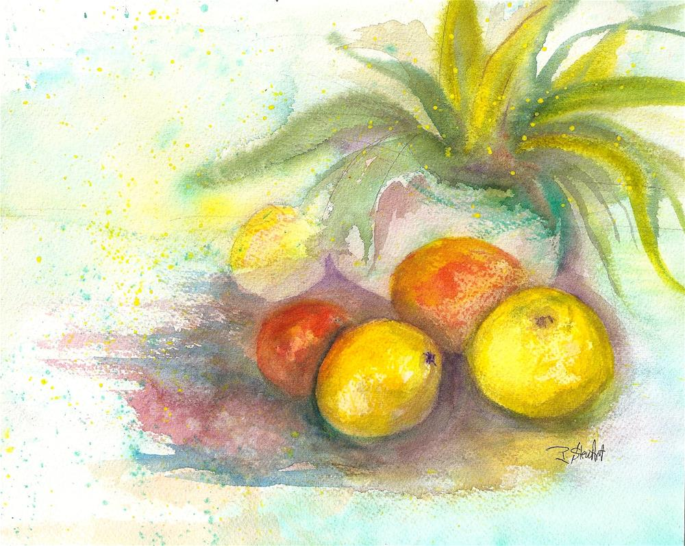 """8x10 Citrus Still Life with Potted Plant loose style Watercolor by Penny StewArt"" original fine art by Penny Lee StewArt"