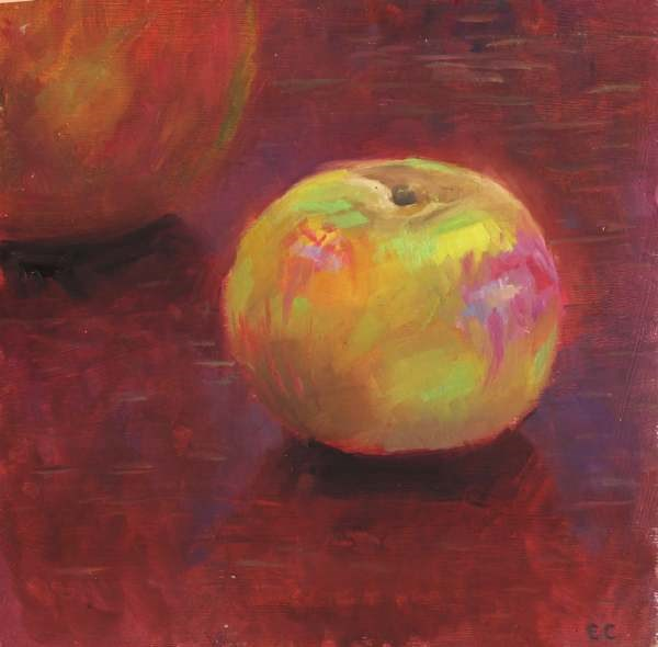 """Apple on Table"" original fine art by Ed Cooper"