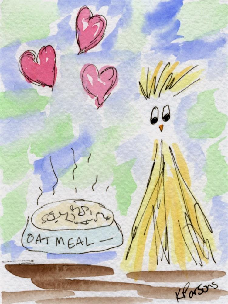 """For the Love of Oatmeal"" original fine art by Kali Parsons"