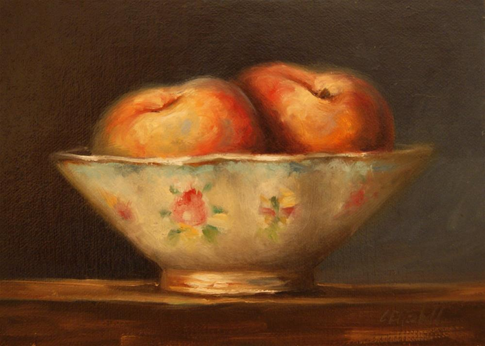"""""""Still Life with Antique Bowl and Peaches,  Oil on 5x7 Linen Panel"""" original fine art by Carolina Elizabeth"""