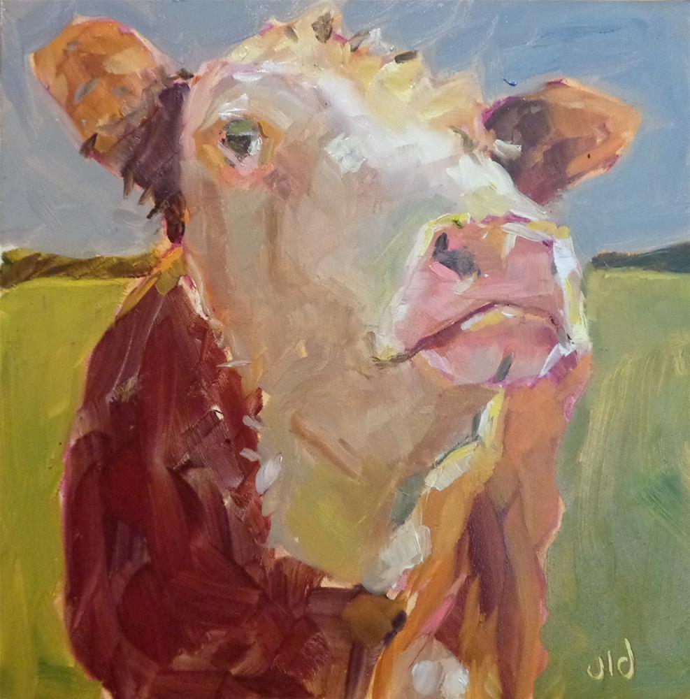 """Cow 72 KING OF EVERYTHING"" original fine art by Jean Delaney"