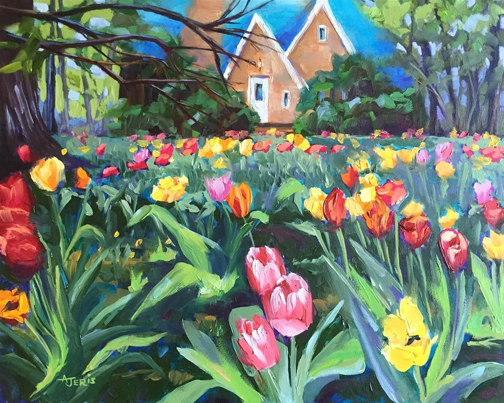 """Yard of Tulips"" original fine art by Andrea Jeris"