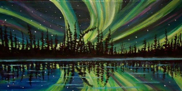 """Northern Lights Panarama"" original fine art by Jackie Irvine"