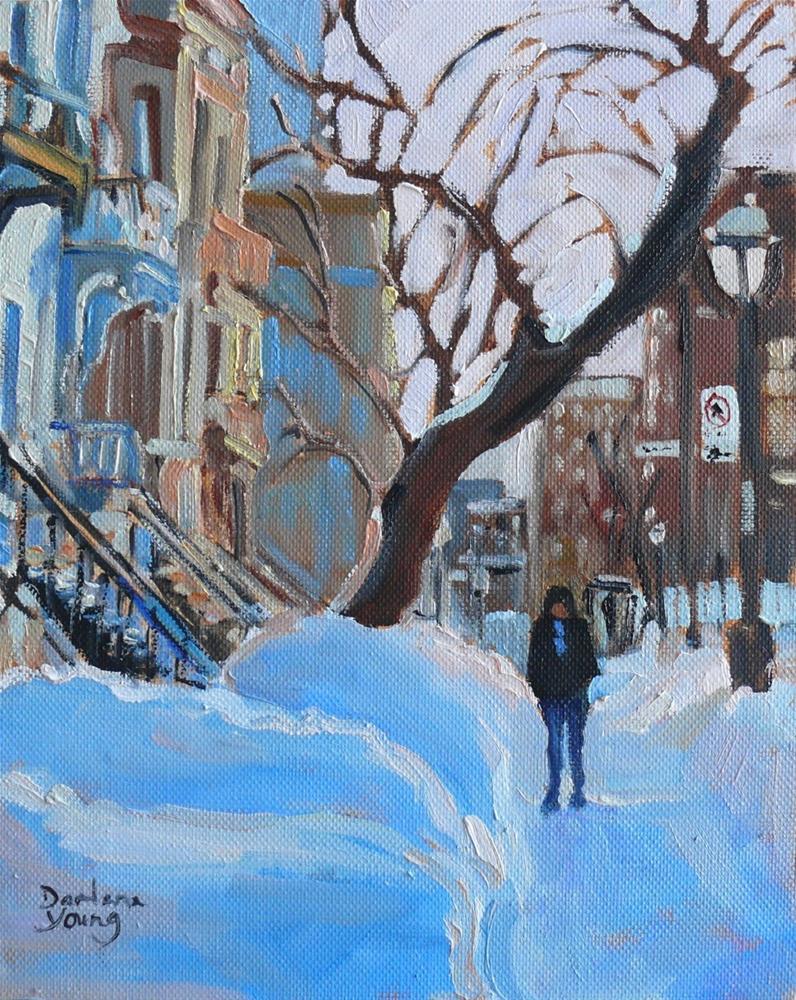 """""""908 Montreal Winter Scene, Sherbrooke Est, oil on board, 8x10"""" original fine art by Darlene Young"""
