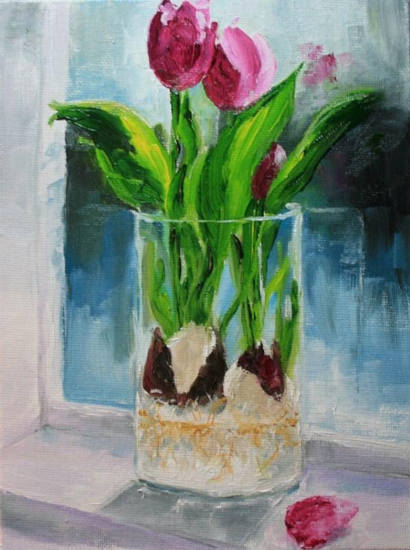 """""""Tulips on My Windowsill"""" original fine art by Jean Nelson"""