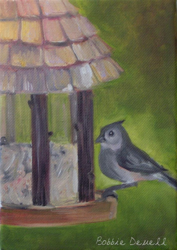 """#17 Bird Feeding"" original fine art by Bobbie Deuell"