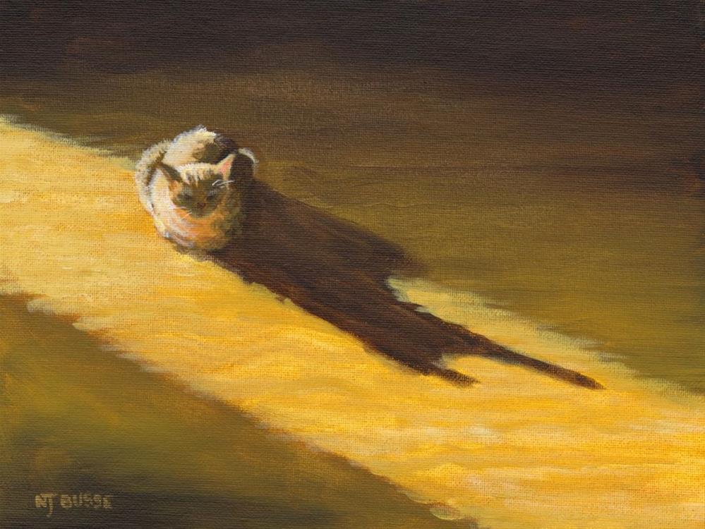 """Original Cat Painting Feline Art Late Afternoon Sun by Colorado Western Landscape Painter Nancee j"" original fine art by Nancee Busse"