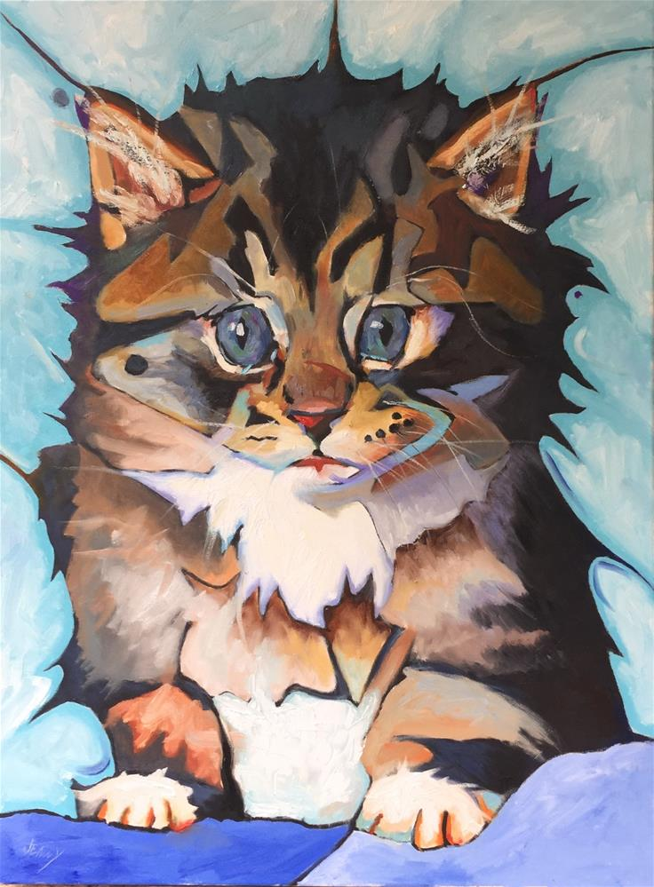 """Giant Psycho Kitten"" original fine art by Jenny Buckner"