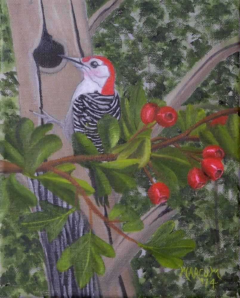 """Woodpecker"" original fine art by John Marcum"