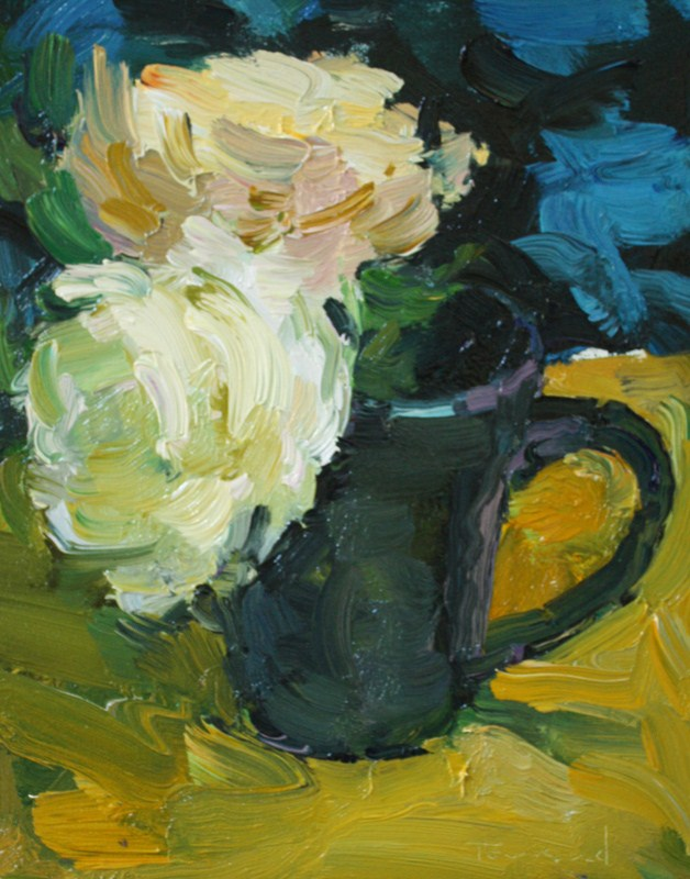 """Roses in Blue Cup"" original fine art by Kathryn Townsend"